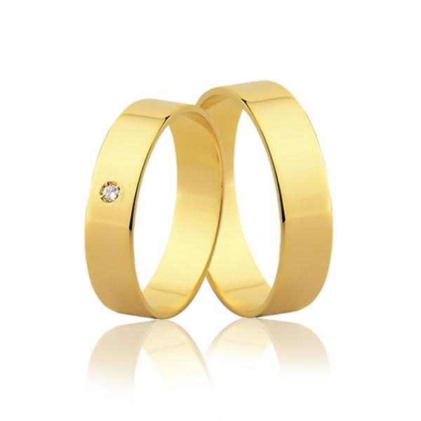 Par de Aliança Reta com Diamante em Ouro 18k