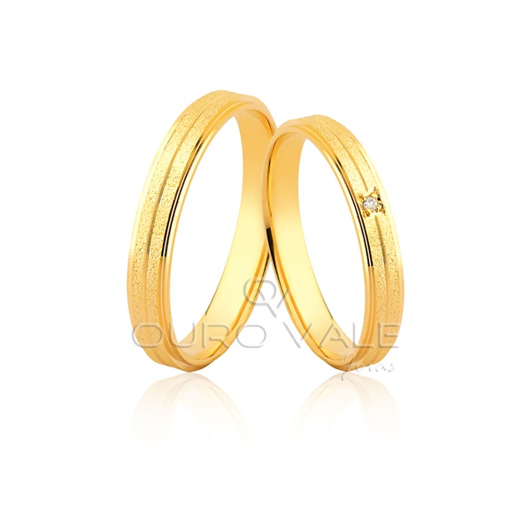 Aliança Fina e Anatômica com Diamante em Ouro 18k