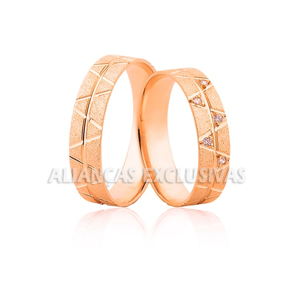 Aliança Rose em Ouro 18k com Diamantes