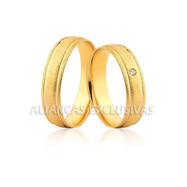 Alianças de Casamento Diamantadas em Ouro 18k