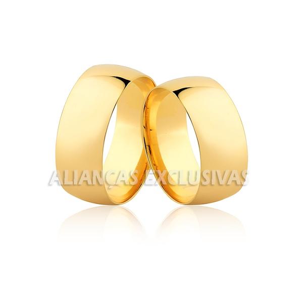 alianças tradicionais para casamento grossas e anatômicas em ouro 18k