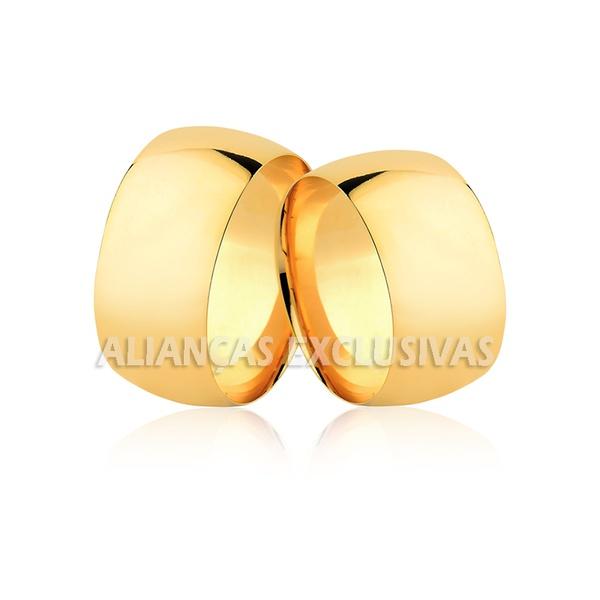 par de alianças grossas e anatômicas de ouro amarelo 18k para casamento e noivado