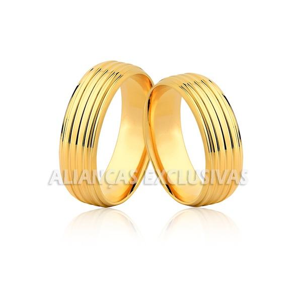 Aliança de Noivado e Casamento em Ouro 18k Anatômica