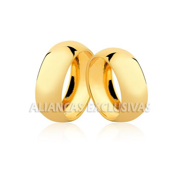 alianças de ouro grossas e anatômicas polidas para noivado e casamento