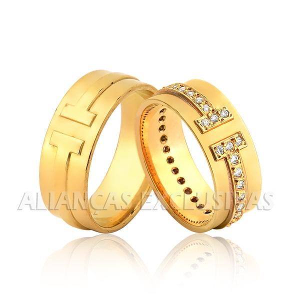 Aliança Grossa com Diamantes Exclusiva Ouro 18k