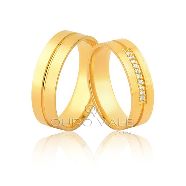 alianças de ouro para casamento grossas com diamantes