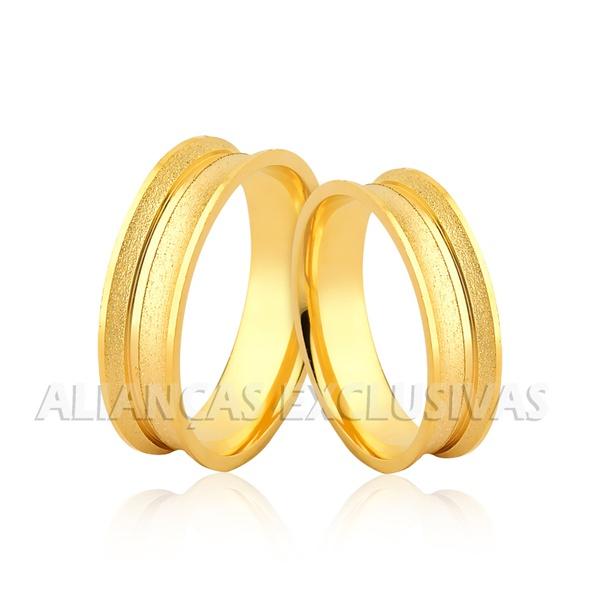 Aliança Côncava e Diamantada em Ouro 18k