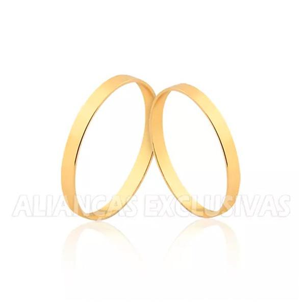 par de alianças finas de ouro 18k para casamento e noivado