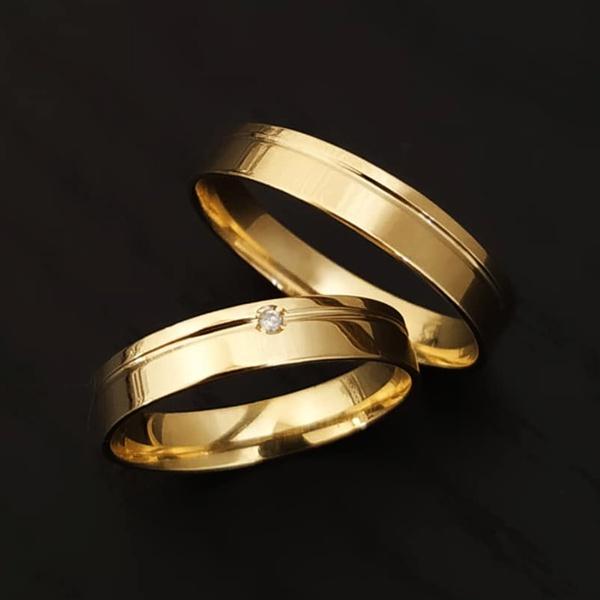 alianças de casamento em ouro com diamante