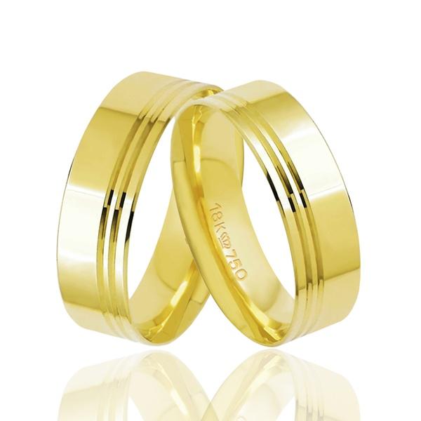 Aliança de Ouro com Frisos Ouro 18k