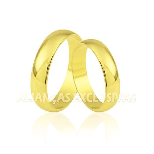 Aliança Tradicional em Ouro Amarelo 18k Anatômica com Diamante