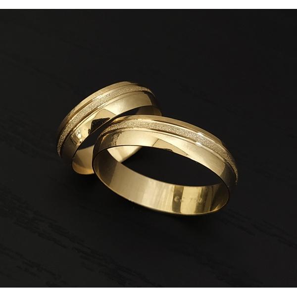 Par de Alianças Acabamento Diamantado Ouro 18k