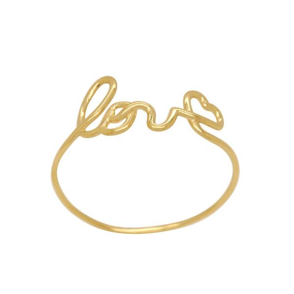 Anel Escrita Love em Ouro 18k