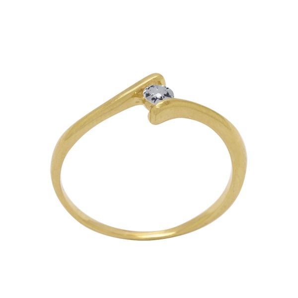 Anel Solitário Aro Desencontrado com Diamante em Ouro 18k