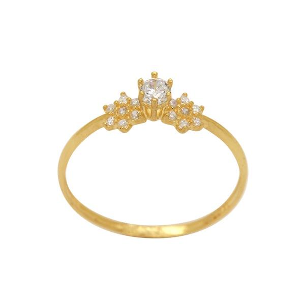 anel de noivado em ouro 18k feminino com pedras e detalhes de flores