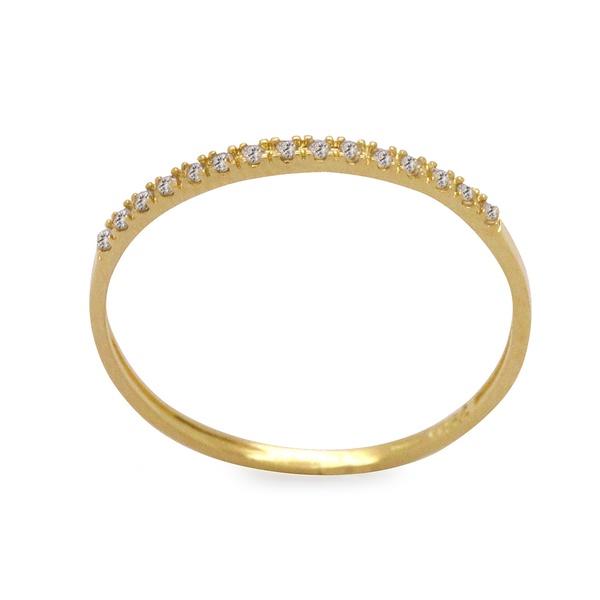 anel feminino delicado de ouro amarelo 18k com pedras de zircônia