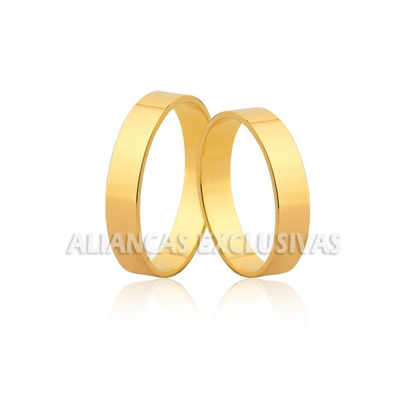 alianças finas em ouro amarelo 18k para noivado e casamento