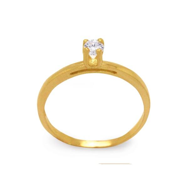anel de ouro com pedra de zircônia