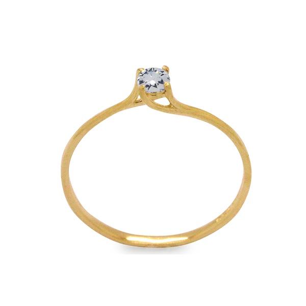 anel de ouro amarelo fino com pedra de zircônia