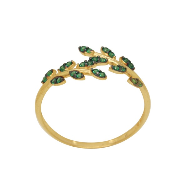 anel de ouro amarelo com pedras em zircônias verdes