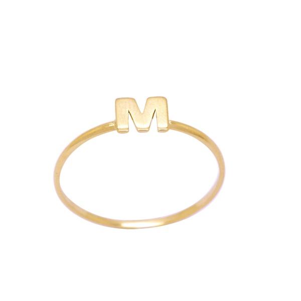 Anel Letra M em Ouro 18k