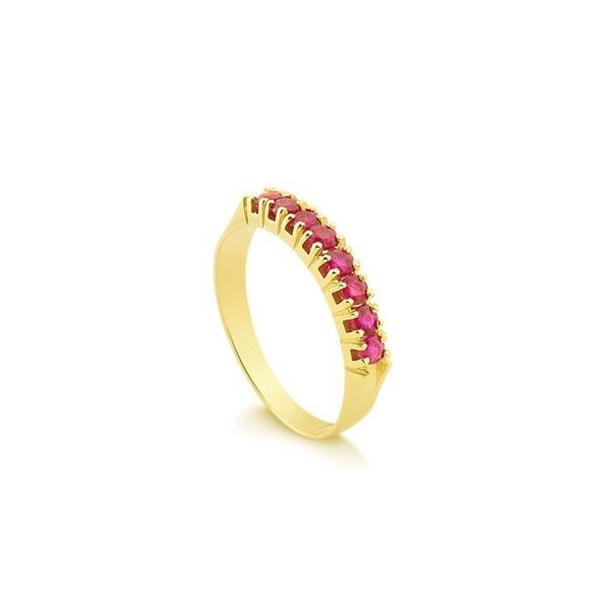Anel Meia Aliança em Ouro 18k com Pedras Rosas