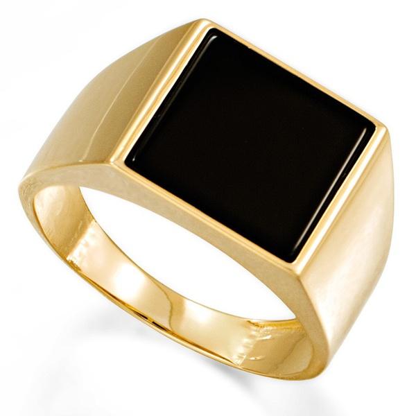 Anel com Pedra Onix em Ouro 18k