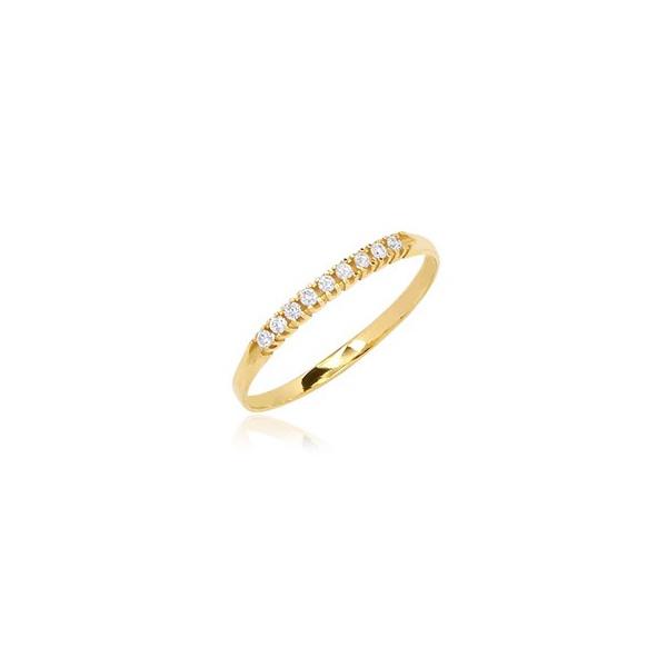 anel de ouro delicado com 9 pedras de diamantes