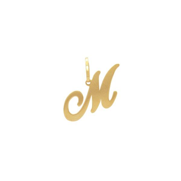 Pingente Letra Inicial M em Ouro 18K