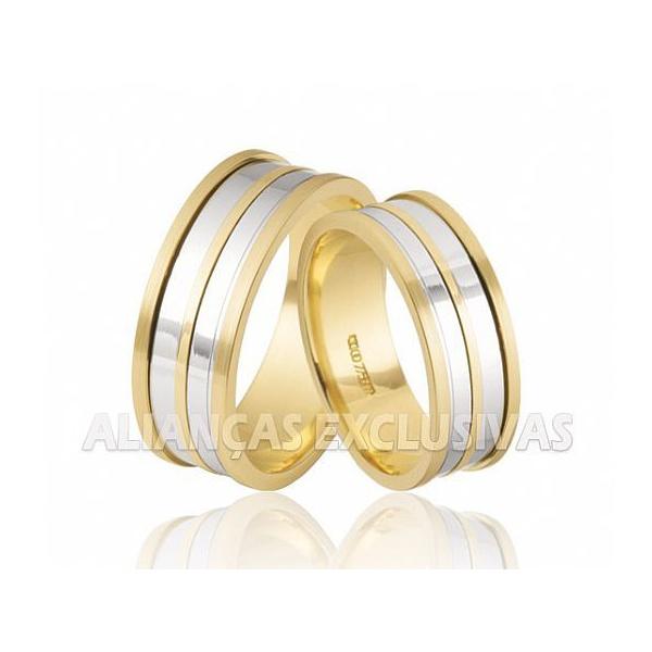 alianças grossas de casamento em ouro amarelo e ouro branco