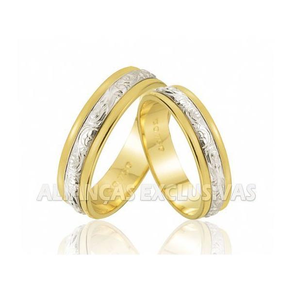 Alianças de Casamento Bodas em Ouro 18k e Ouro Branco