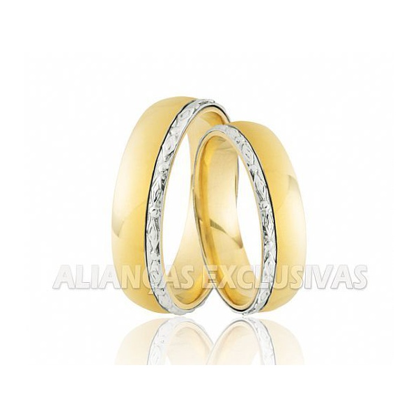 alianças grossas de ouro branco e ouro amarelo