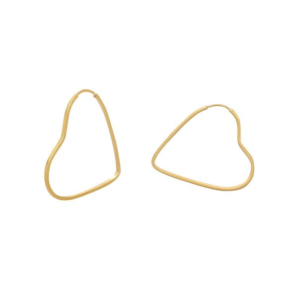 Brinco Argola Coração em Ouro 18k