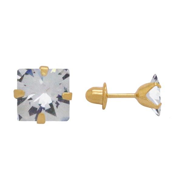 Brinco Solitário 4,0 mm Quadrado Ouro 18k