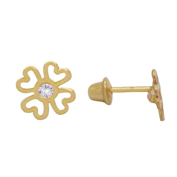 Brinco Flor com Zircônia em Ouro