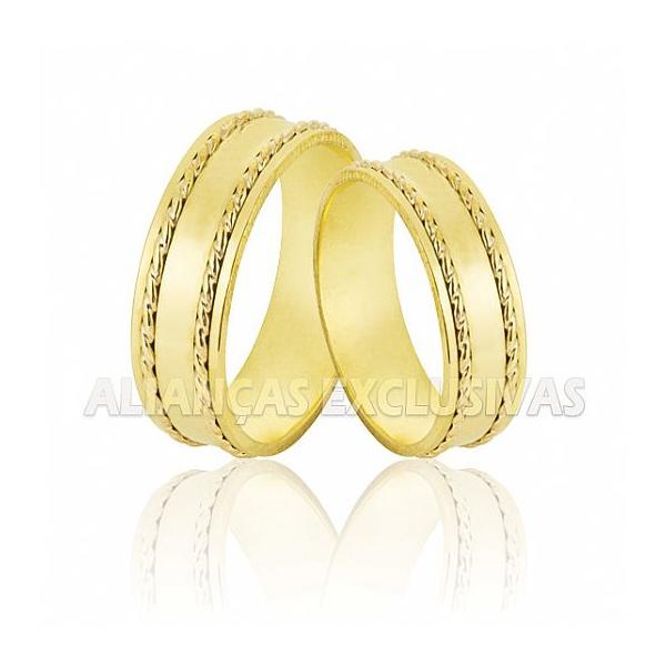 Alianças de Noivado e Casamento Trabalhadas em Ouro 18k