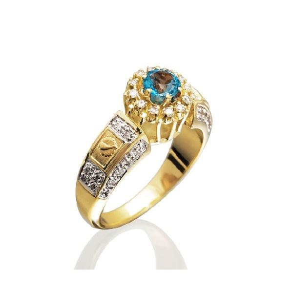 anel de formatura em ouro 18k com pedra natural e diamantes