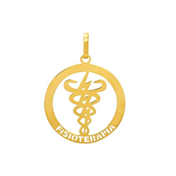 Pingente de Formatura Fisioterapia em Ouro 18k