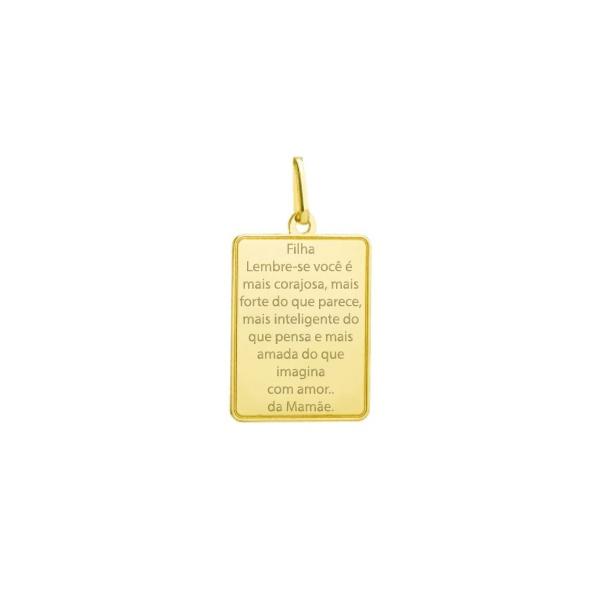 Pingente Placa com Escrita Ouro 18k