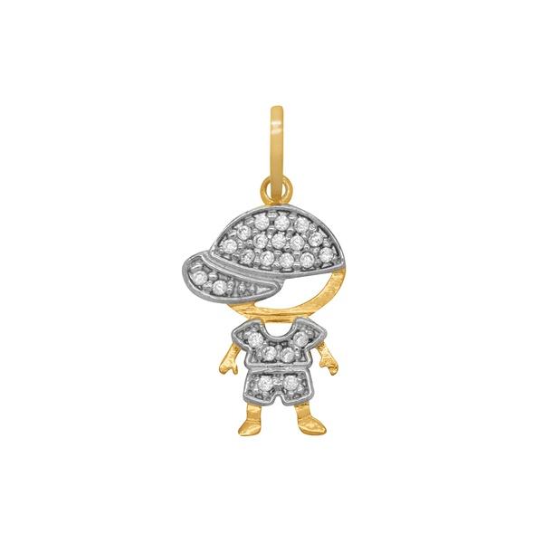 Pingente Menino com Pedras em Ouro 18k