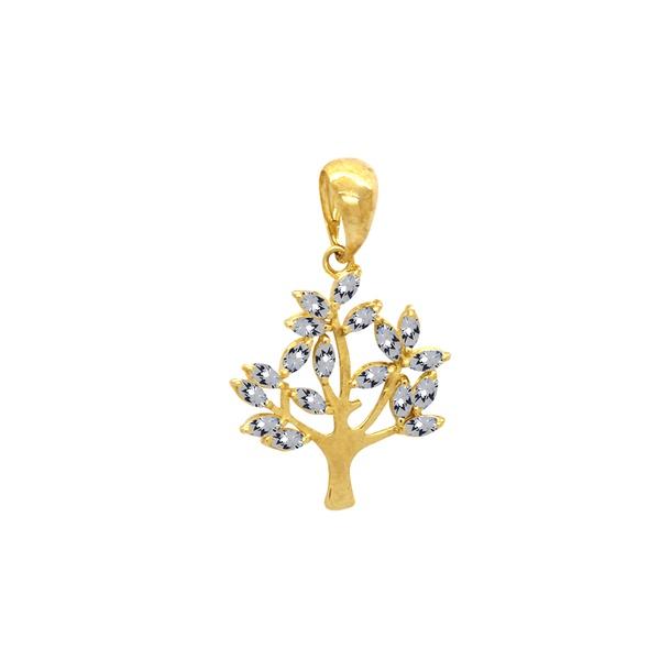 Pingente Árvore e Folhas em Ouro 18k