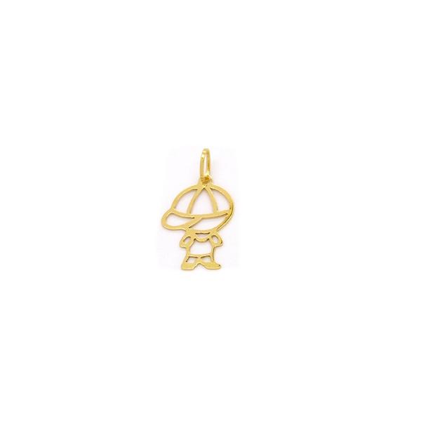 Pingente Vazado de Menino em Ouro 18K