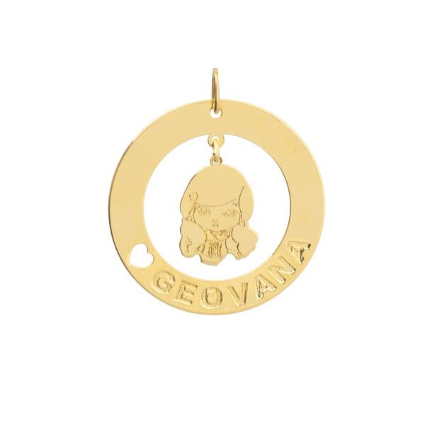 Pingente Menina Personalizado Ouro 18k