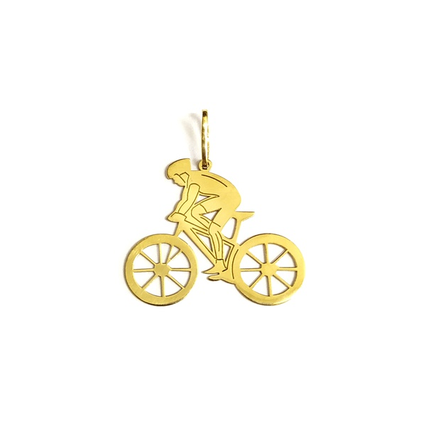 Pingente Ciclista em Ouro 18k