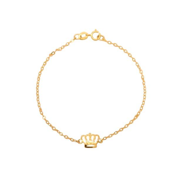 Pulseira Coroa Vazada em Ouro 18k