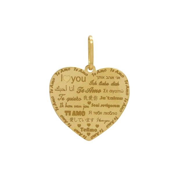 Pingente Coração Te Amo em Ouro 18k