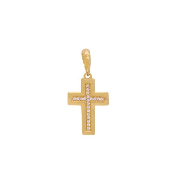 Pingente de Cruz com Zircônias em Ouro 18k