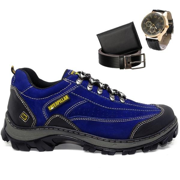 Kit Tênis W2085 - Azul + Cinto + Carteira + Relógio