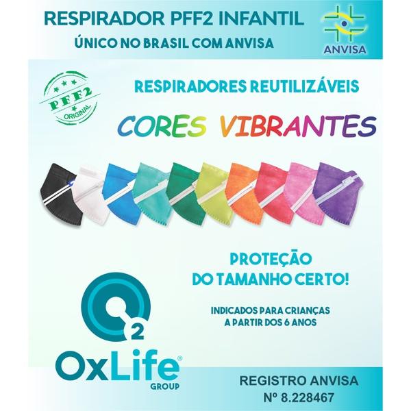 Respirador Infantojuvenil Reutilizável PFF2 (S) - cores vibrantes - 10 un.
