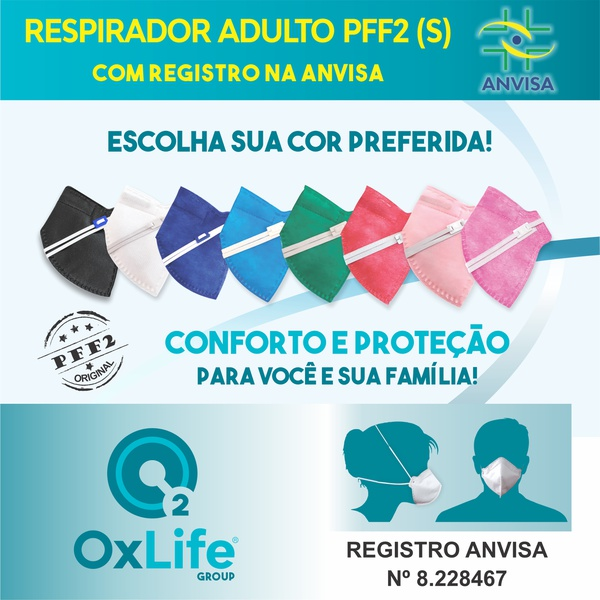 Respirador Descartável Tipo PFF2 (S) multicor - Kit com 10 un.